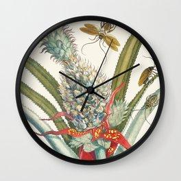 Vintage Pineapple Botanical Print Wall Clock