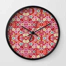 Crimson Floral Chirimen Wall Clock