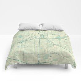 Fort Worth Map Blue Vintage Comforters