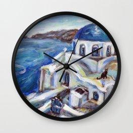 Greek island church Santorini Black Cat painting Wall Clock