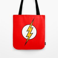the flash Tote Bags featuring Flash by Merioris