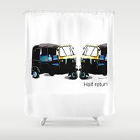 return Shower Curtains featuring Half Return by The Real Veda