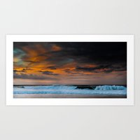 Sunset over Pipeline, Hawaii Art Print