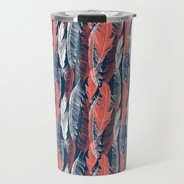 Beautiful vector seamless graphic pattern of feathers Travel Mug