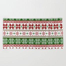 Green & Red Winter Fair Isle Beach Towel