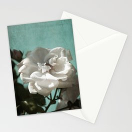 Vintage Inspired White Roses on Aqua Blue Green Stationery Cards