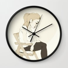 girl sitting Wall Clock