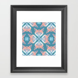 Pastel Fox Pattern Framed Art Print