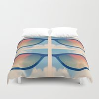sunglasses Duvet Covers featuring Sunglasses by Kimpressions