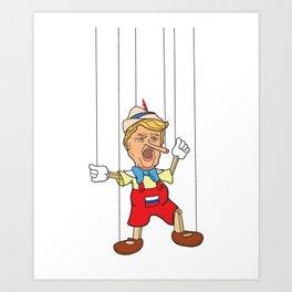 Donald Trump as Lying Pinocchio Puppet Art Print