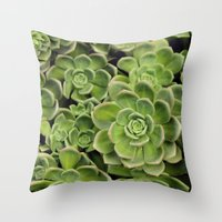succulent Throw Pillows featuring Succulent by Cynthia del Rio