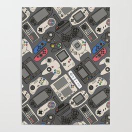 Video Game Controllers in True Colors Poster