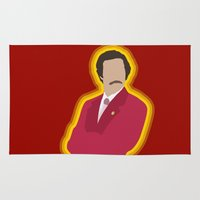 anchorman Area & Throw Rugs featuring Ron Burgundy: Anchorman by The Vector Studio