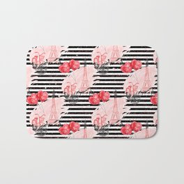 Valentine's Day Paris Bike and Red Love Balloons Bath Mat