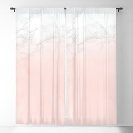 Blush Pink on White and Gray Marble II Blackout Curtain