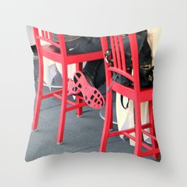 Sitting Cross Legged On The Red Chair Throw Pillow