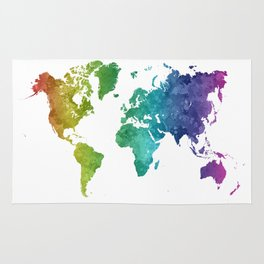 World map in watercolor rainbow Rug