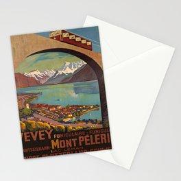retro  Vevey Mont Pelerin vintage poster Stationery Cards