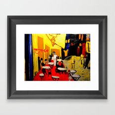 night at the cafe  Framed Art Print