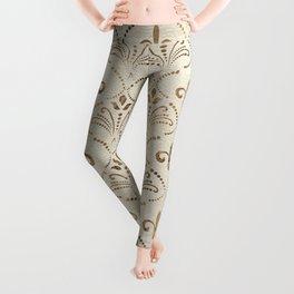 Elegant Fleur-de-lis pattern - pastel gold Leggings