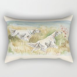 ENGLISH SETTERS in the field Hunting scene Rectangular Pillow