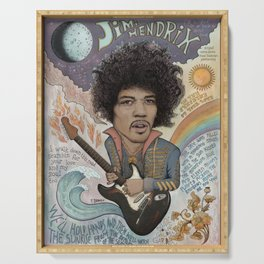 Jimi Hendrix - 11 Moons Played Across The Rainbows Serving Tray
