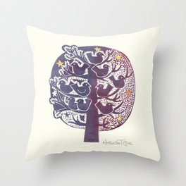 Untitled (tree), etching Throw Pillow