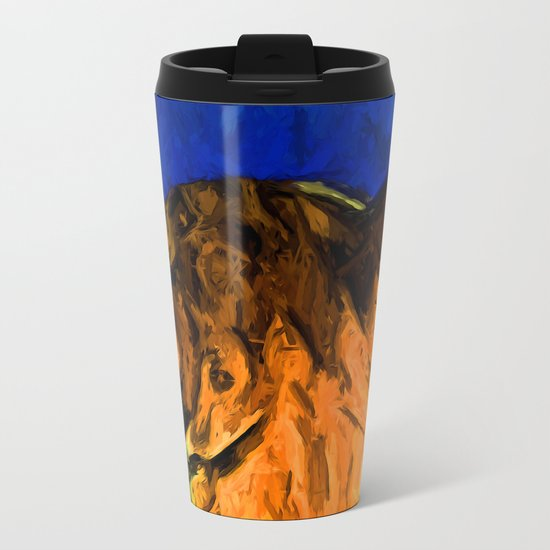Back of a Cat's Head with some Blue Metal Travel Mug