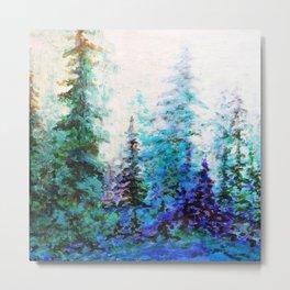 Mountain Landscape Pines In Blue-Greens-Purple Metal Print