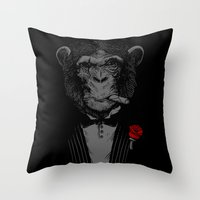 monkey Throw Pillows featuring Monkey Business by Alex Solis