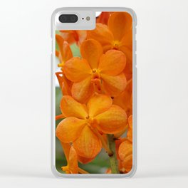 Orange Orchids Clear iPhone Case