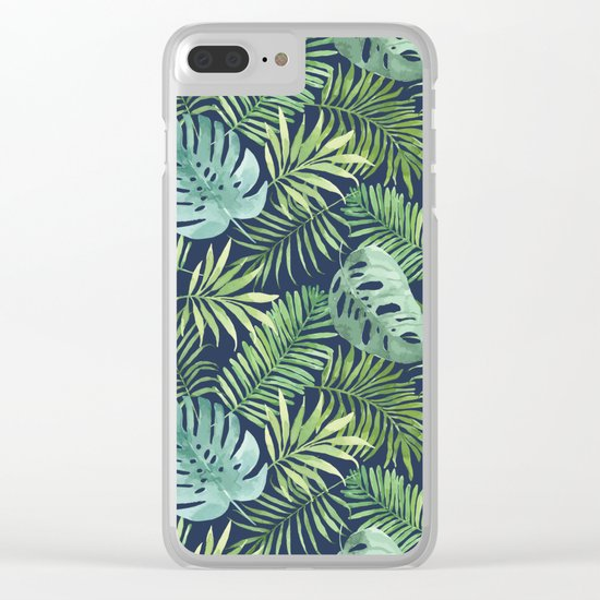 Tropical Branches on Dark Pattern 06 Clear iPhone Case