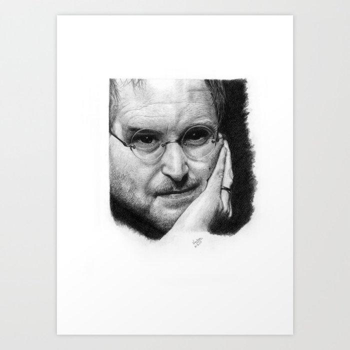 Steve Jobs Graphite Portrait Sketch Art Print By Nadeemabd