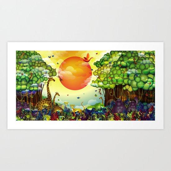Jungle of colors Art Print