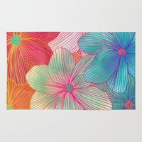 orange Area & Throw Rugs featuring Between the Lines - tropical flowers in pink, orange, blue & mint by micklyn