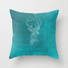 BLUE DEER Throw Pillow