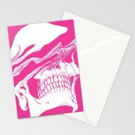 Liquify skull in hot pink Stationery Cards