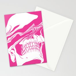 Liquify skull in hot pink Stationery Cards