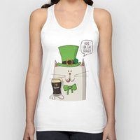 irish Tank Tops featuring Saint Patric's cat, Cat cartoon characters, Irish Cat cartoon, ZWD004 by ZeeWillDraw