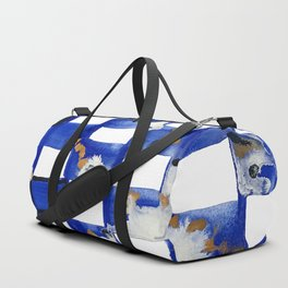 Blue and White Checks Duffle Bag