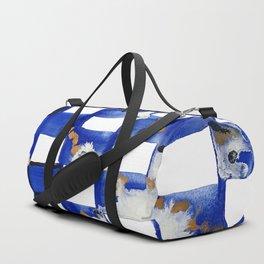 Blue and White Checks Duffle Bag