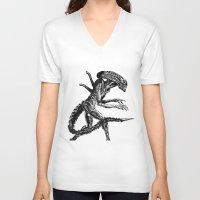 xenomorph V-neck T-shirts featuring Xenomorph by Carla Beltra