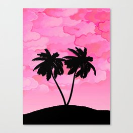 Palm Tree Silhouette Against Dawn Pink with Clouds Canvas Print