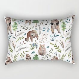 Bears, trees, and leaves pattern Rectangular Pillow
