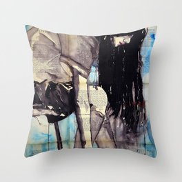 Cuore - ink & watercolor drawing-painting Throw Pillow