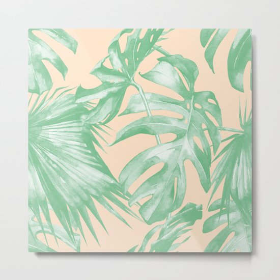 Tropical Leaves Palm Green on Citrus Metal Print