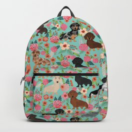 Dachshund floral dog breed pet patterns doxie dachsie gifts must haves Backpack