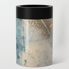 Embrace: a minimal, abstract mixed-media piece in blues and gold with a hint of pink Can Cooler