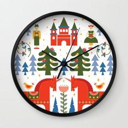 Scandinavian Fairtytale - Green + Red Wall Clock
