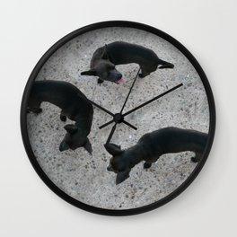 Three black dogs Wall Clock